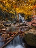 与瀑布的垂直的惊人的风景和与美丽的冷的小河的五颜六色的秋天森林秋天森林风景 束缚的 库存图片