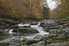 与瀑布的小河在秋天下午 图库摄影