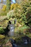 与瀑布的小河 库存图片
