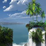 与瀑布的热带风景 免版税库存图片