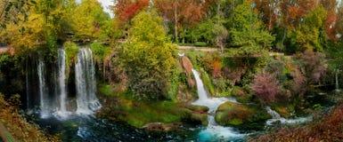 与瀑布的美丽的景色在森林里 免版税库存照片