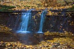 与瀑布的美好的风景在秋天森林& x28里; harmo 免版税库存照片