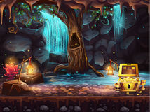 与瀑布的幻想洞,树,宝物箱 免版税图库摄影