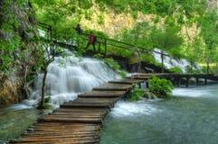 与瀑布, Plitvice,克罗地亚的春天图片 免版税库存图片