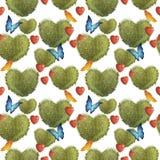 与灌木的无缝的样式以心脏和蝴蝶的形式 在人背景 皇族释放例证