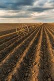 与灌溉系统的土豆领域,在播种之后 库存照片