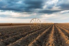与灌溉系统的Potatu领域,在播种之后 图库摄影