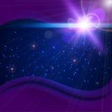 与火光的抽象紫色宇宙背景 向量例证