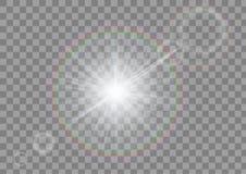 与火光的闪耀的光在透明背景 被隔绝的白色闪闪发光 皇族释放例证