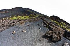 与火山火山口的埃特纳火山风景在西西里岛 免版税库存图片