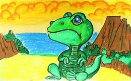 与火山绘画的恐龙 免版税库存照片