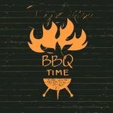 与火火花的例证BBQ时间的 印刷品餐馆 免版税库存图片