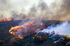 与火焰和烟的燃烧的山坡风景在加利福尼亚火期间 免版税库存照片