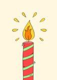 与火焰的手拉的红色蜡烛 免版税库存照片