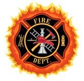 与火焰的消防队员十字架 向量例证