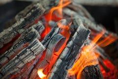 与火焰被烧焦的木头的美好的火 免版税库存图片