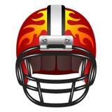 与火的橄榄球盔 免版税库存照片