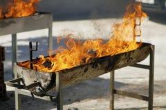 与火的烤肉店 免版税库存图片
