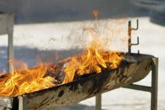 与火的烤肉店 库存图片