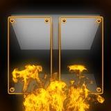 与火的热的黑金属背景 免版税库存照片