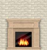 与火的现实大理石壁炉在内部,砖墙 皇族释放例证