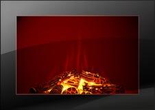 与火的现代壁炉 皇族释放例证