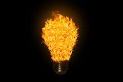 与火的电灯泡 免版税库存图片