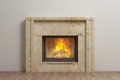 与火的石壁炉在家庭内部 免版税库存图片