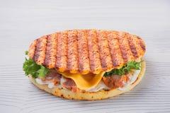 与火箭和蛋黄酱的健康鱼汉堡在白色背景的一个敬酒的小圆面包晒干了用香料并且服务 库存图片