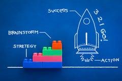与火箭图画的创新概念和成功措辞手博士 免版税库存照片