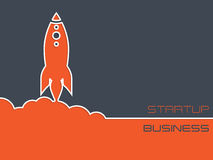与火箭的单纯化的起始的企业背景 免版税库存照片