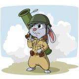 与火箭筒的动画片兔宝宝 免版税库存图片