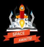 与火箭队发射的科学幻想小说书 免版税库存照片
