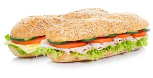 与火腿和乳酪整个五谷五谷长方形宝石的次级三明治 库存图片