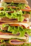 与火腿和乳酪特写镜头的大和开胃三明治 免版税库存照片