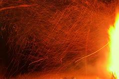 与火花的巨大的火 库存照片