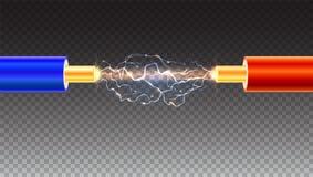 与火花的电缆在透明背景 在色的绝缘材料的铜电缆 向量例证