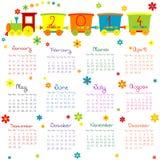 2014与火车的日历孩子的 图库摄影