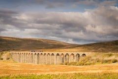 与火车的Ribblehead高架桥 库存照片