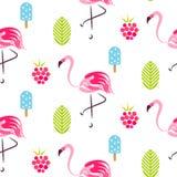 与火鸟、冰淇凌和莓的夏天样式 免版税库存图片