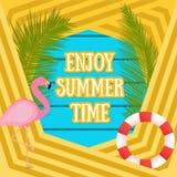 与火鸟鸟的夏天热带假期背景 使布赖顿椅子日甲板英国节假日懒人海边有风夏天的星期日靠岸 库存例证