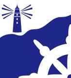与灯塔的海洋背景 免版税库存照片