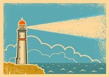 与灯塔的葡萄酒海报 免版税库存照片