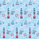 与灯塔,小船,星,船锚,浮游物的船舶孩子样式 向量例证