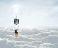 与灯的空气baloon 库存照片