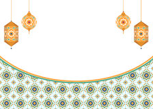 与灯笼的伊斯兰教的艺术背景 免版税库存图片
