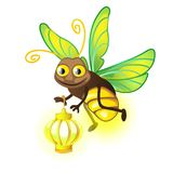 与灯笼的动画片萤火虫在白色背景 也corel凹道例证向量 库存例证
