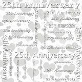 与灰色和白色心脏瓦片样式的第25个周年设计 免版税库存照片