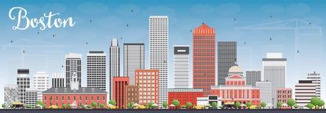 与灰色和红色大厦和蓝天的波士顿地平线 向量例证