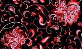 与灰色和红色花的无缝的样式 免版税库存图片